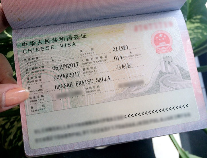 chinese visa without income tax return