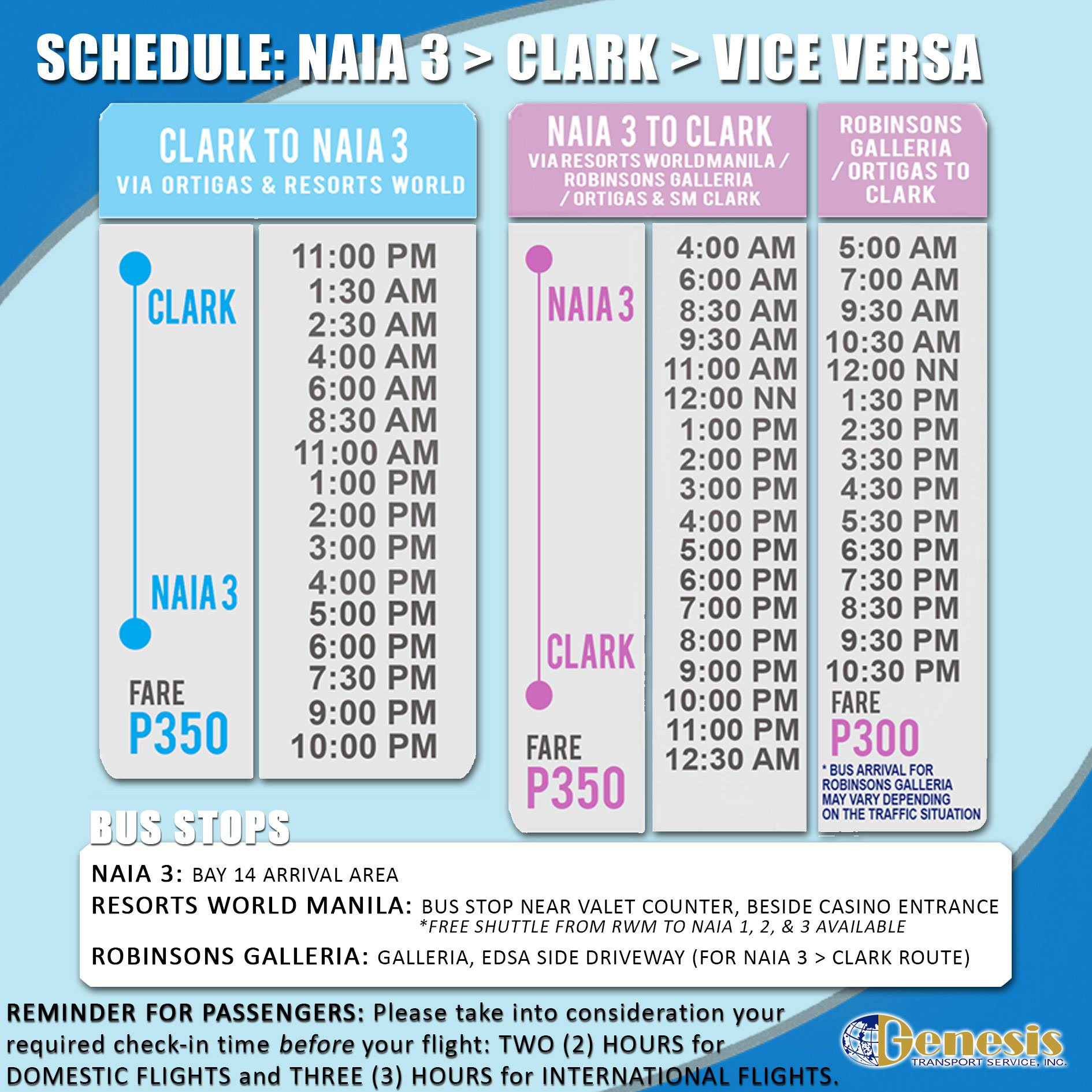 NAIA 3 to Clark Airport P2P Bus Schedule