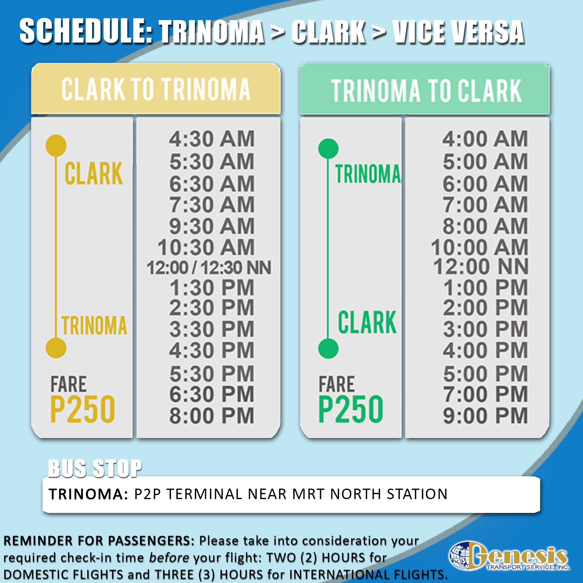 Trinoma to Clark Airport P2P Bus Schedule